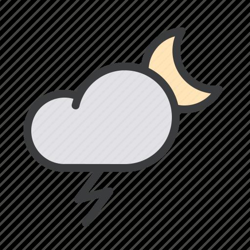Thunder, forecast, lightning, storm, night, moon, cloud icon