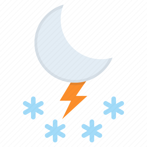 forecast, moon, night, snow, snowfall, storm, weather icon
