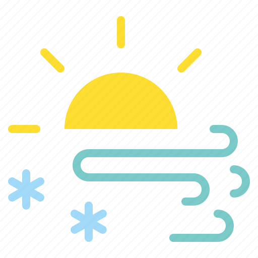 day, daytime, forecast, snow, snowfall, storm, sun icon