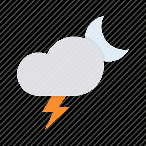cloud, forecast, lightning, moon, night, storm, thunder icon