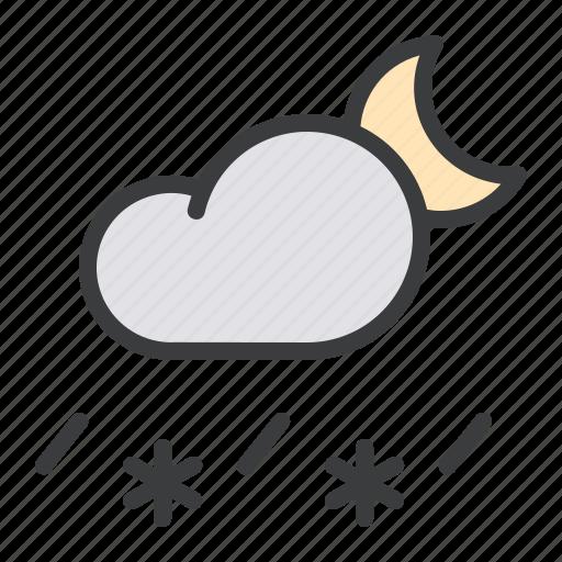 cloud, forecast, moon, night, rain, sleet, snow icon