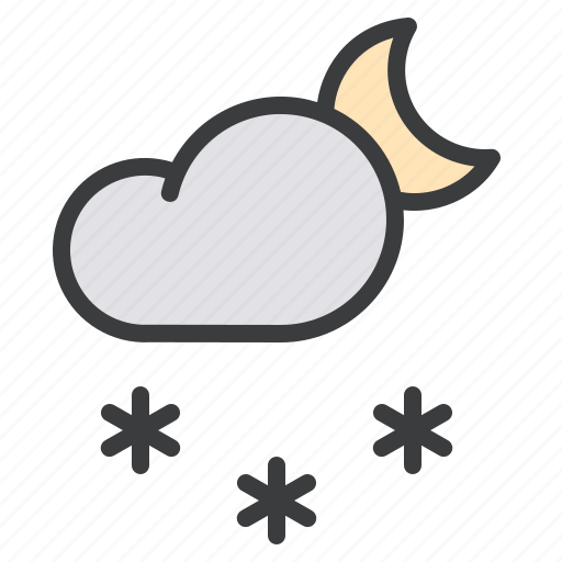 Cloud, forecast, moon, night, snow, snowfall, weather icon - Download on Iconfinder