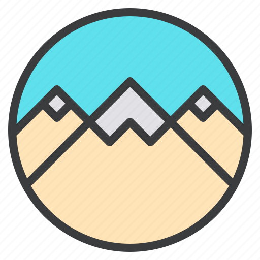 hills, landscape, mountain, scenery, snow, tourism, vacation icon