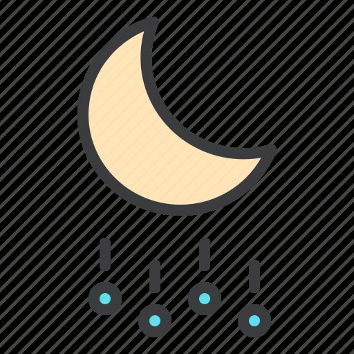 forecast, hail, heavy, moon, night, rain, stone icon