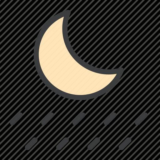 forecast, moon, night, rain, rainfall, raining icon