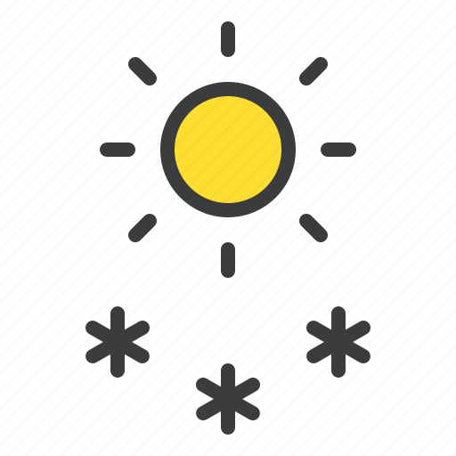 day, daytime, forecast, snow, snowfall, sun, weather icon