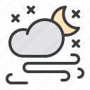 cloud, forecast, moon, night, snow, snowfall, storm icon