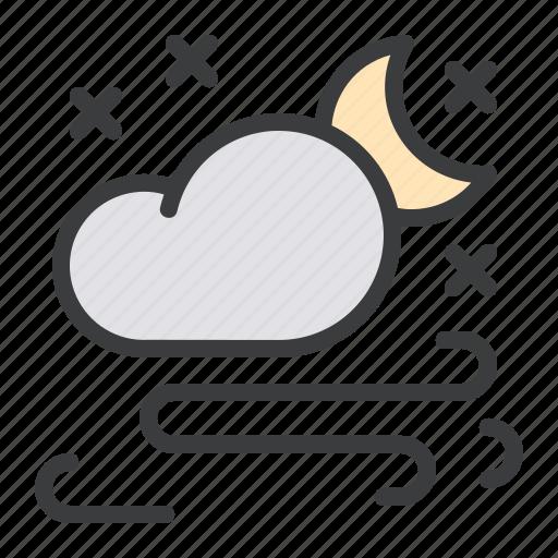 cloud, forecast, moon, night, snow, snowfall, storm icon