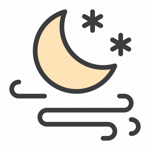 frost, moon, night, storm, wind, windy icon