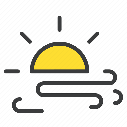 day, daytime, forecast, storm, sun, wind, windy icon