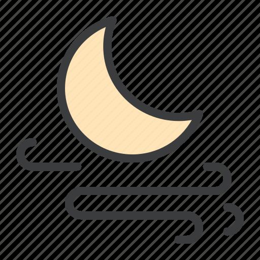 forecast, moon, night, storm, wind, windy icon