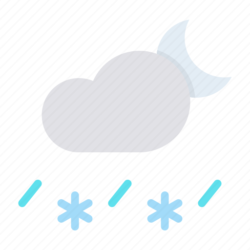 cloud, forecast, moon, night, rain, sleet, snow icon