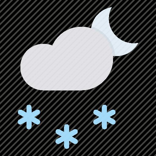 cloud, forecast, moon, night, snow, snowfall, weather icon