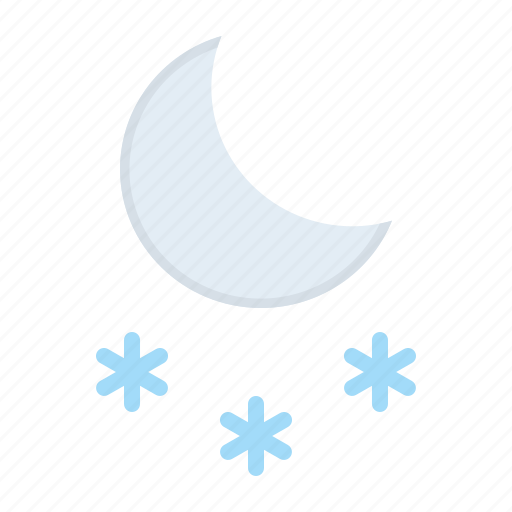 cold, forecast, moon, night, snow, snowfall, weather icon