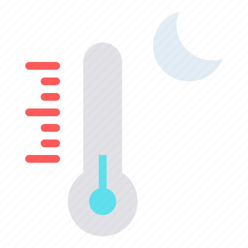 cold, moon, night, reading, temperature, thermometer icon