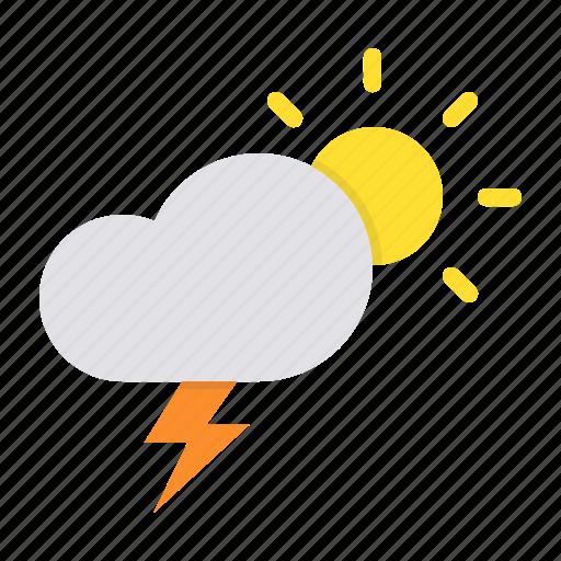 cloud, day, daytime, lightning, rain, sun, thunder icon