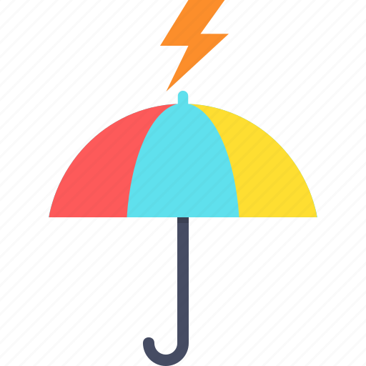 lightning, protection, rainfall, safety, thunder, umbrella icon