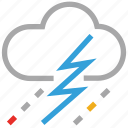 clouds, forecast, lightning, raining, storm, thunder, weather icon