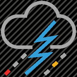 clouds, forecast, lightning, raining, storm, thunder, weather icon