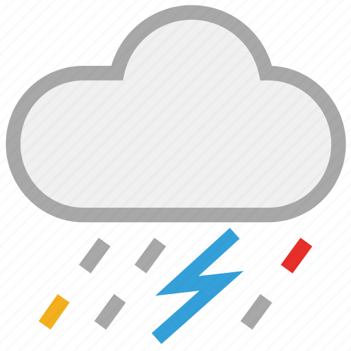 clouds, forecast, rain, storm, thunder, weather icon