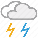 clouds, forecast, thunder, thunderstorm, weather icon