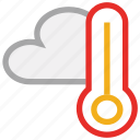 clouds, forecast, temperature, thermometer, weather icon