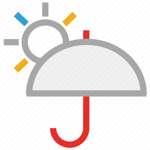 forecast, heat, hot day, sun, umbrella, weather icon