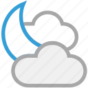 clouds, forecast, moon, night, weather icon