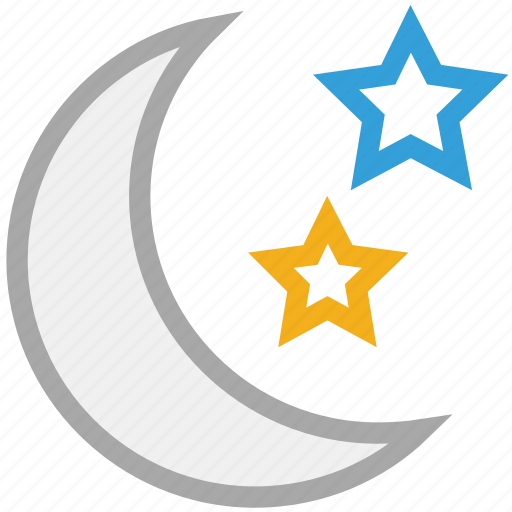 forecast, moon, night, sky, stars, weather icon