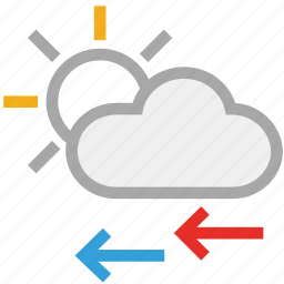 cloud, forecast, sun, weather, wind icon