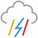 forecast, lightning, rain, storm, thunder, thunderstorm, weather icon