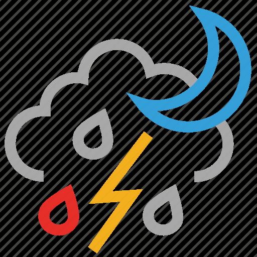 forecast, lightning, moon, night, raining, thunder, weather icon