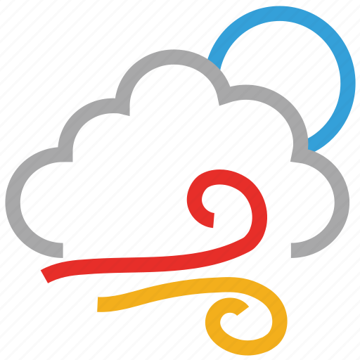 clouds, forecast, moon, night, weather, wind icon