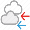 arrows, clouds, cloudy, forecast, weather icon