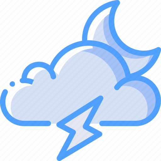Cloud, lightning, moon, storm, weather icon - Download on Iconfinder