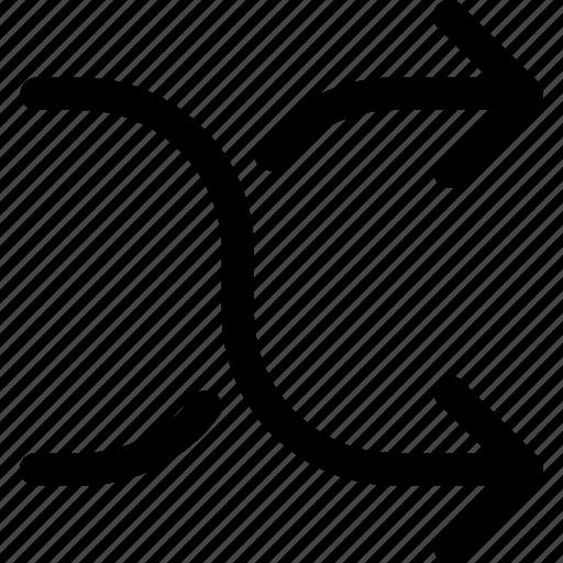 arrow, arrows, direction, down, next, right, shuffle icon