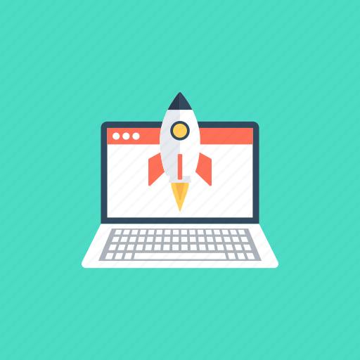 internet marketing, new website, rocket startup, web launch, website startup icon