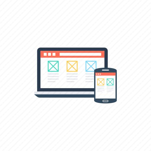 adaptive layout, adaptive web development, responsive design, responsive layout, website content icon