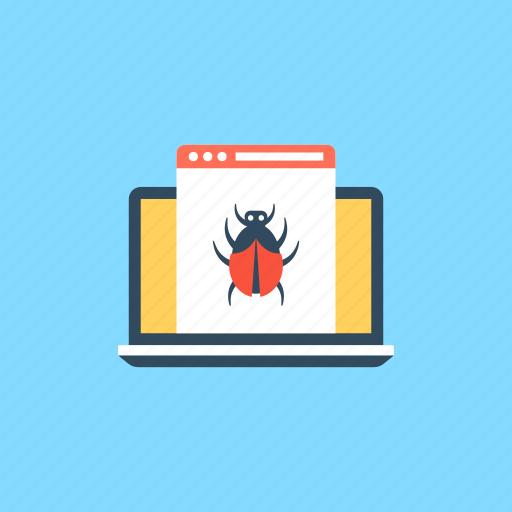 computer bugs, computer security exploits, computer viruses, infected computer program, software program malware icon