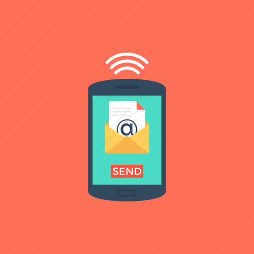 email notification, mobile email, mobile message, new email, send email icon