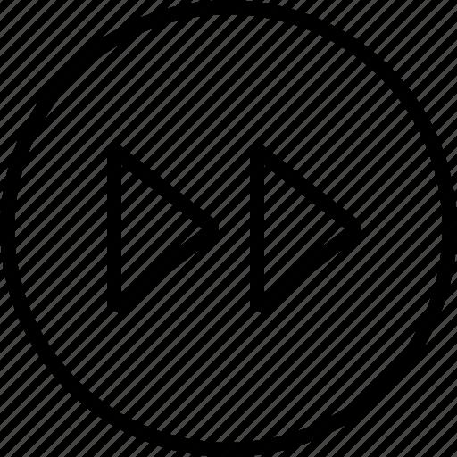 arrow, fastforward, forward, multimedia, music, player icon