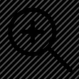 glass, magnifying, plus icon
