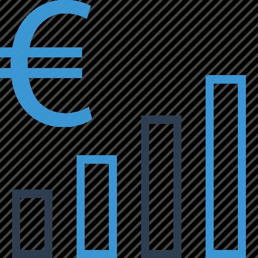 bars, euro, money, sign icon