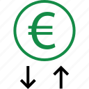 arrows, down, euro, money, revenue, sign, up icon