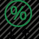 arrows, online, percentage, rate, revenue, up, web icon