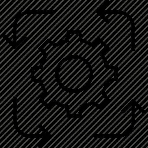 Arrow, cogwheel, preferences, project revenue, symc icon - Download on Iconfinder
