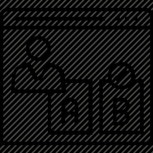 ab testing, compare, screens, testing, user testing icon