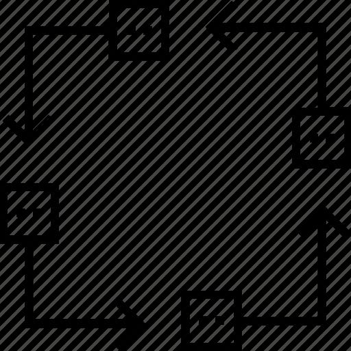 diagram, flow diagram, hierarchy, management, sitemap icon
