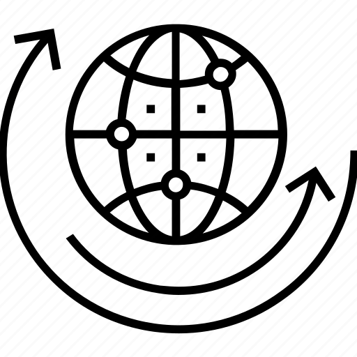 global solution, globe, planet, sync, synchronization icon