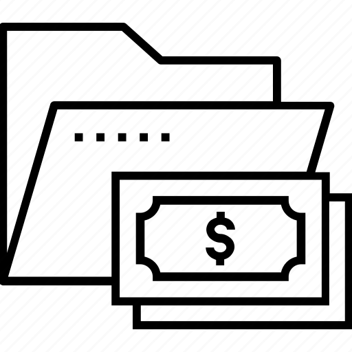 business, data, financial data, folder, paper money icon